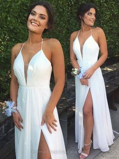 Long Formal Dresses A-line, White Formal Dress Chiffon, Cheap Party Dresses V-neck, Evening Dresses Simple