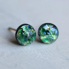 Green Planet Earrings ... Peacock Green Opal Earrings Vintage Glass by SilkPurseSowsEar on Etsy https://www.etsy.com/listing/186946427/green-planet-earrings-peacock-green-opal