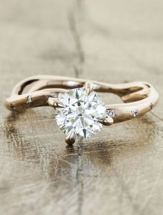 Rose gold engagement ring - Aurora Diamonds - this is so my style. nature inspired. Simple, rustic and beautiful.