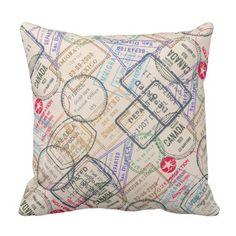 Passport Stamps Travel Throw Pillow
