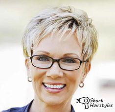 Image result for hairstyles for 50 year old woman with glasses