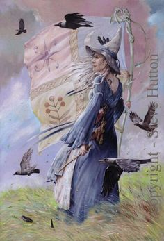 Witch in the wind, with her magpies?