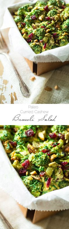 This paleo, healthy Broccoli Salad is jazzed up with a curried cashew cream dressing. It's a quick and easy side dish that is always a crowd pleaser! | WholeYum.com