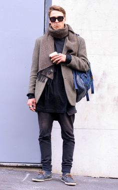 Eric is wearing jacket and shoes by Rodd & Gunn, scarf by Vivienne Westwood  and sunglasses by Karen Walker.
