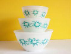 Vintage Retro Crown Agee Pyrex Flannel Flowers  by FunkyKoala