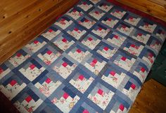 By tubakk-quilt - made from old jeans & bathroom curtains