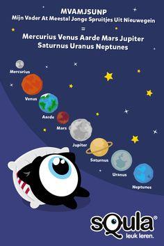 Met dit handige ezelsbruggetje van Elcamiroch kun je de verschillende planeten onthouden. MVAMJSUNP (Mijn Vader At Meestal Jongen Spruitjes uit Nieuwegein) = Mercurius, Venus, Aarde, Mars, Jupiter, Staturnus, Uranus, Neptunes.