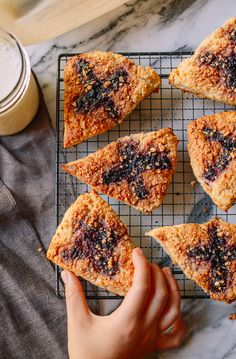 Peanut butter and jelly scones are great for breakfast or dessert, featuring an enduring combo that never fails to comfort. Finger Desserts, Jelly Desserts, A Food, Food And Drink, Fruit Jam, Pastry Blender, Quick Bread, Sweet Bread, Coffee Cake