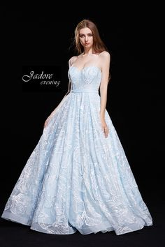 Strapless Embroidered Ball Gown J12015 Prom Dresses Blue, Formal Dresses, Wedding Dresses, Lace Applique, Fitted Bodice, Ball Gowns, Tulle, Spaghetti Straps, Appliques