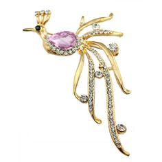 [USD1.55] [EUR1.41] [GBP1.10] Golden Crystal Brooch Korean Female Peacock Scarf Buckle Diamond Brooch Gilded (Specification: Pink diamond peacock)