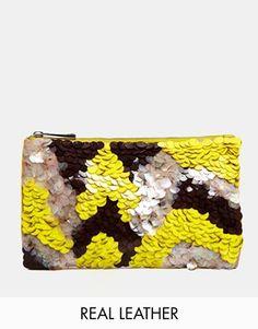 ASOS Scales Embellished Zip Top Clutch Bag