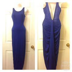 Colbalt Blue Maxi Dress/Gown Don't you just love the back of this dress!? Stretches nicely. Will look great with statement necklace since the front is simple. Price is firm. Will fit extra small to small. Dresses Maxi