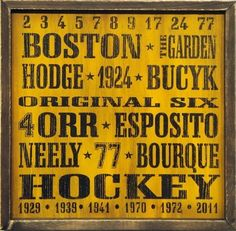 Boston Bruins Vintage Style Wooden Sign-18x18 by NHL. $37.95. This is a Boston Bruins Vintage Style Wooden 18x18 Sign. Printed on the sign are the 6 years that the Bruins won the Stanley Cup, the Bruins retired numbers, as well as the names Orr, Neeley, Esposito, Bourque, and more.