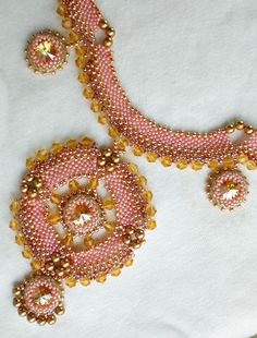 Swarovski Crystals Pearls Pink Golden Necklace by SpringColors