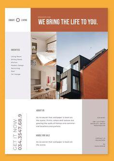 Clean Flyer by celciusdesigns on Envato Elements Real Estate Advertising, Real Estate Flyers, Real Estate Flyer Template, Flyer Design Templates, Layout Design, Web Design, Design Ideas, Modern Kitchen Design, Modern Design