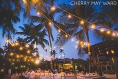 Beautiful Koh Samui Wedding reception table with lights