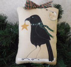 Primitive Folk Art CHRISTMAS CROW Pillow Tuck Wall Hanger BELIEVE Star Winter #NaivePrimitive #auntiemeowsatticprims