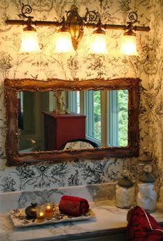 black and white toile bathroom.  www.karmainteriorsltd.com