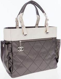 Luxury Accessories:Bags, Chanel Silver Satin and White Canvas Paris Biarritz Tote B... Image #1