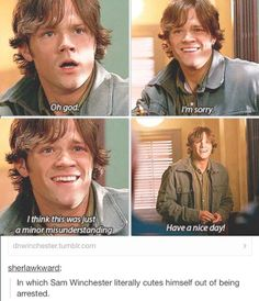 @Clara Knappen THIS IS MY FAVORITE SAM WINCHESTER SCENE EVER IN THE HISTORY OF FOREVER.