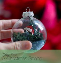 A Glass Ornament Decorated 10 Ways: Christmas Scene | Say Yes to Hoboken-maybe snow or mica instead of lichen