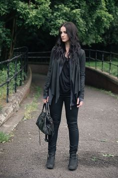 Fashion blogger Stephanie of FAIIINT wearing Barneys originals draped leather jacket, OnePiece charcoal stroll hoodie, Helmut Lang tee, Topshop coated jeans, Kurt Geiger wedges & Balenciaga city bag. All black off duty casual street style outfit.