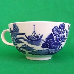 Staffordshire England Blue White VINTAGE TEA CUP Blue Willow Replacement NO MARK