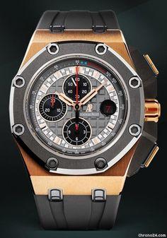 Audemars Piguet Royal Oak Offshore - Offshore PG-Schumacher $81,584 #AudemarsPiguet #AP #watch #watches #chronograph pink gold case rubber bracelet