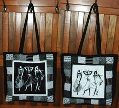 """he finished size of the tote is about 14"""" (wide) x 15"""" (high) x 4"""" (deep).    You will need solid black fabric (about 1/2 yard), solid white fabric (1 fat quarter and scraps of black-and-white patterned fabrics. You will also need backing and batting, each piece measuring about 20"""" x 38"""",  sewing iron-on interfacing and a magnet closure (optional)."""