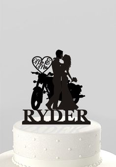 Wedding Cake Topper Silhouette Couple on Motorcycle Mr & Mrs Personalized with Last Name, Acrylic Ca