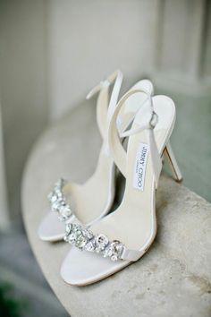 Wedding Bridal Shoes by Jimmy Choo // white strappy bling high heel wedding shoes Manolo Blahnik, Cute Shoes, Me Too Shoes, Trendy Shoes, Casual Shoes, Wedding Heels, Lace Wedding, Bridal Heels, Trendy Wedding