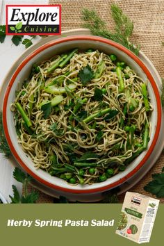 Looking for a summery pasta recipe? Look no further than the Herby Spring Pasta Salad featuring the Explore Cuisine Edamame Spaghetti! Topped with green herbs and zesty lemon, this is a healthy, vegan twist on a garden fresh spaghetti dish! Spring Pasta Salad Recipe, Pasta Salad Recipes, Edamame Spaghetti, How To Cook Pasta, Plant Based Recipes, Recipe Using, Food Print, Stuffed Peppers, Vegan