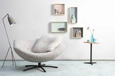 LABEL   Design by Gerard van den Berg. Easy chair Gigi. Upholstered in Nevada fabric (De Ploeg). Cushion in Cross fabric (Innofa)