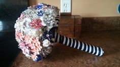 Navy and coral brooch bouquet. #navy #coral #broochbouquet #nautical #wedding #bouquet