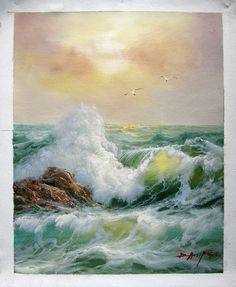 "16"" by 20"" - Seascape - Seawave - Nr.101 - Museum Quality Oil Painting on Canvas Art by Artseasy"