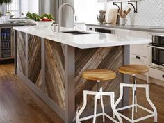 Kitchen Rustic Kitchen Islands Design With Wooden Chevron Accent Materials And White High Gloss Countertop Plus Black Sink Awesome Kitchen Island with Sink