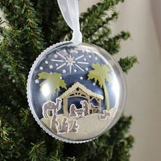 PTI Petite Places Nativity - Nativity Ornament by Lizzie Jones for Papertrey Ink (September Diy Nativity, Nativity Ornaments, Paper Ornaments, Christmas Nativity, Christmas Paper, Christmas Tree Ornaments, Christmas Cards, Christmas Decorations, Xmas Baubles