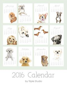 ON SALE / 2016 Dog Calendar  Dog Art  Desk or Wall by TripleStudio