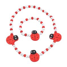 Stretch Jewelry Set For Little Girls In White And Red