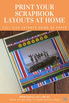 It can get quite expensive to have all your large scrapbook layouts printed at full size.  So I thought about how I could print digital scrapbook layouts at home.  Sometimes I just want to quickly print something – even if it is just in black and white to see how it would look at full scale.  I have successfully worked this out and thought I would share this idea with you in case you wanted to try this at home for yourself. Scrapbook Layouts, Work This Out, Home Printers, A4 Paper, Photo Projects, Digital Scrapbooking, Scale, Printed, Scrapbooking Layouts