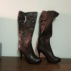 Boots Boots with silver accent zipper 4 inch heel Shoes Ankle Boots & Booties