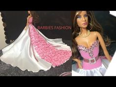 DIY Fast and easy Barbie dress Sewing Barbie Clothes, Barbie Dolls Diy, Barbie Clothes Patterns, Barbie Costumes, Barbie Wedding Dress, Barbie Gowns, Barbie Dress, Barbie Shoes, Monster High Doll Clothes