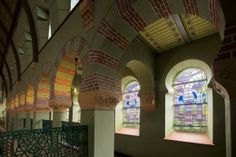 Hoefijzerbogen, glas in lood. Eerste verdieping synagoge, Groningen