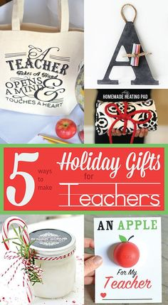 Here are 16 DIY holiday gifts for teachers. These homemade teacher gifts are simple and cheap to make. Great ideas for Christmas, Teacher Appreciation Day, or end of the year thank you gifts from students, parents, or colleagues! Diy Holiday Gifts, Teacher Christmas Gifts, Easy Diy Gifts, Homemade Gifts, Christmas Crafts, Christmas Ideas, Holiday Ideas, Creative Gifts, Xmas Gifts