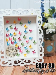 This 3D butterfly art is an easy DIY project and a great way to liven up your space and get ready for spring