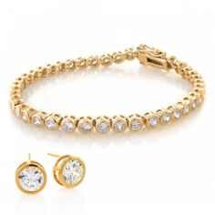 Bridal jewelry tennis necklace and stud earrings set....in gold!