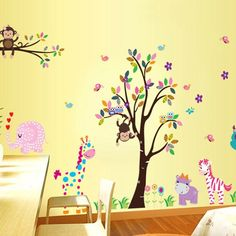 Removable Vinyl Owls Monkeys Wall Decal Kids by CustomWallDecal, $39.98