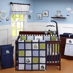 Nautical Sailboat Blue and Green Baby Boy Infant 6pc Nursery Crib Bedding Set/ I already have this for Gregory's room:) I think I want very pale blue walls to resemble the sky.
