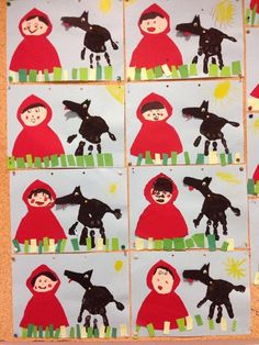 Cappuccetto Rosso#cappuccetto #rosso Preschool Books, Book Activities, Preschool Activities, Learning Websites For Kids, Fairy Tale Crafts, Art For Kids, Crafts For Kids, Traditional Tales, Daycare Crafts