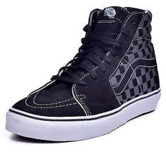 Vans Sk8 Hi Men's Checkered Board Pewter Hi Top Skateboard Shoes